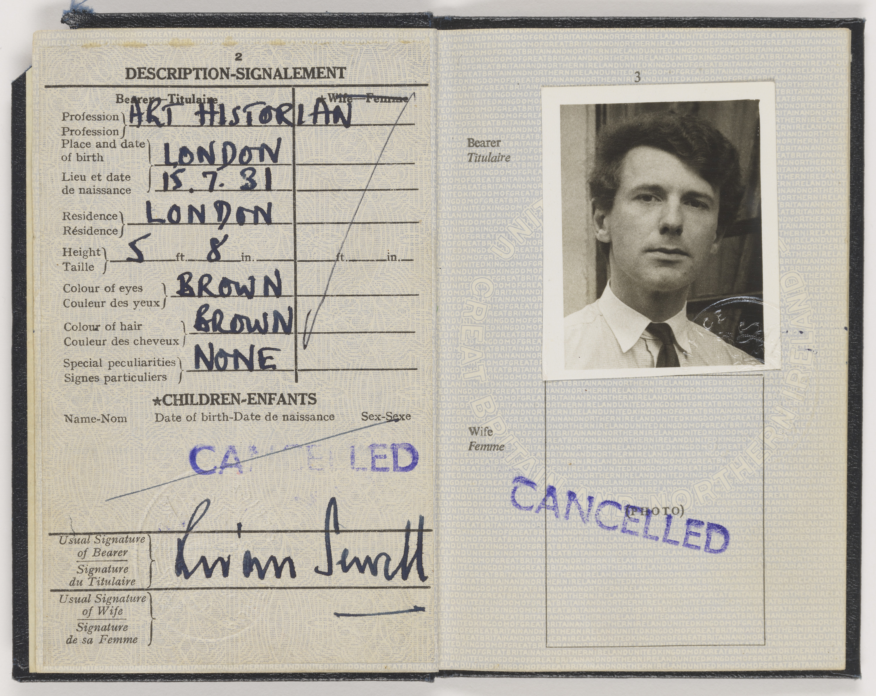 Scan of Brian Sewell's passport with portrait photograph on right page
