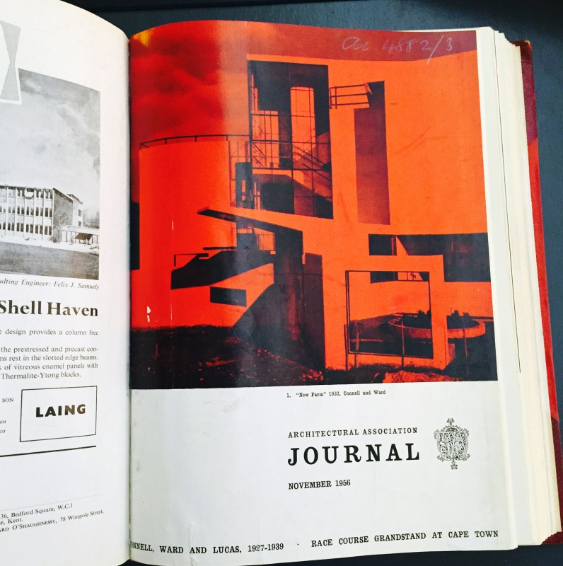 Cover of architectural journal featuring modernist building