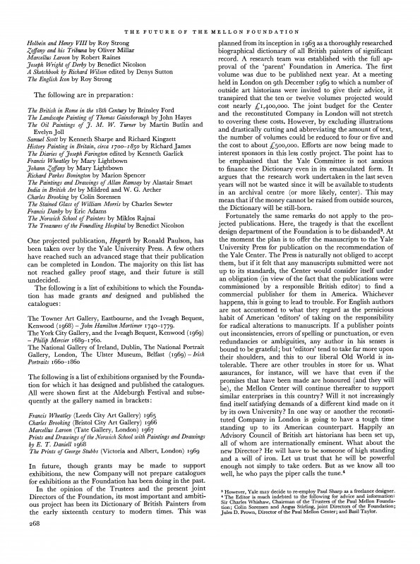 The Burlington Magazine, May 1970, No. 806 – Vol 112, pp. 267-268