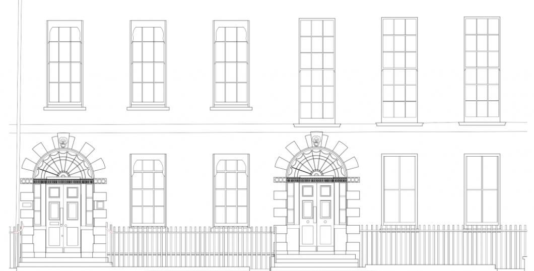 Front Elevation of 16 and 15 Bedford Square