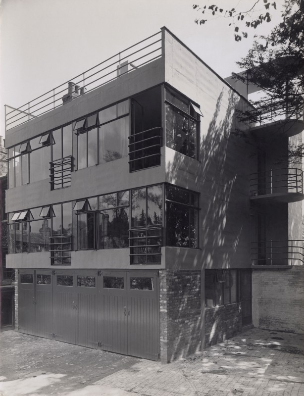 Black and white photograph of modern building