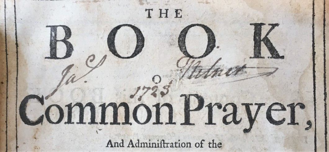 Crop of page with the title 'The Book of Common Prayer'. The Book is in capital letters and Common Prayer is in Title case.