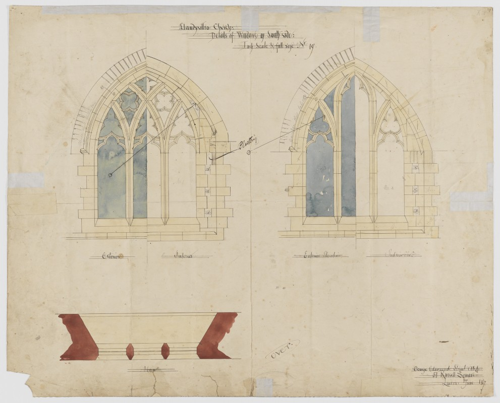 St Tysilio, Llandysilio, Powys, Wales, No. 19 - Details of Windows on South Side and Plan, G.E. Street, June 1867 (Archive Ref: PRJ/4/8/17)
