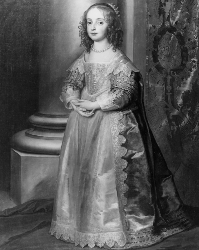 Black and white photograph of a full length painted portrait of Princess Mary in period dress