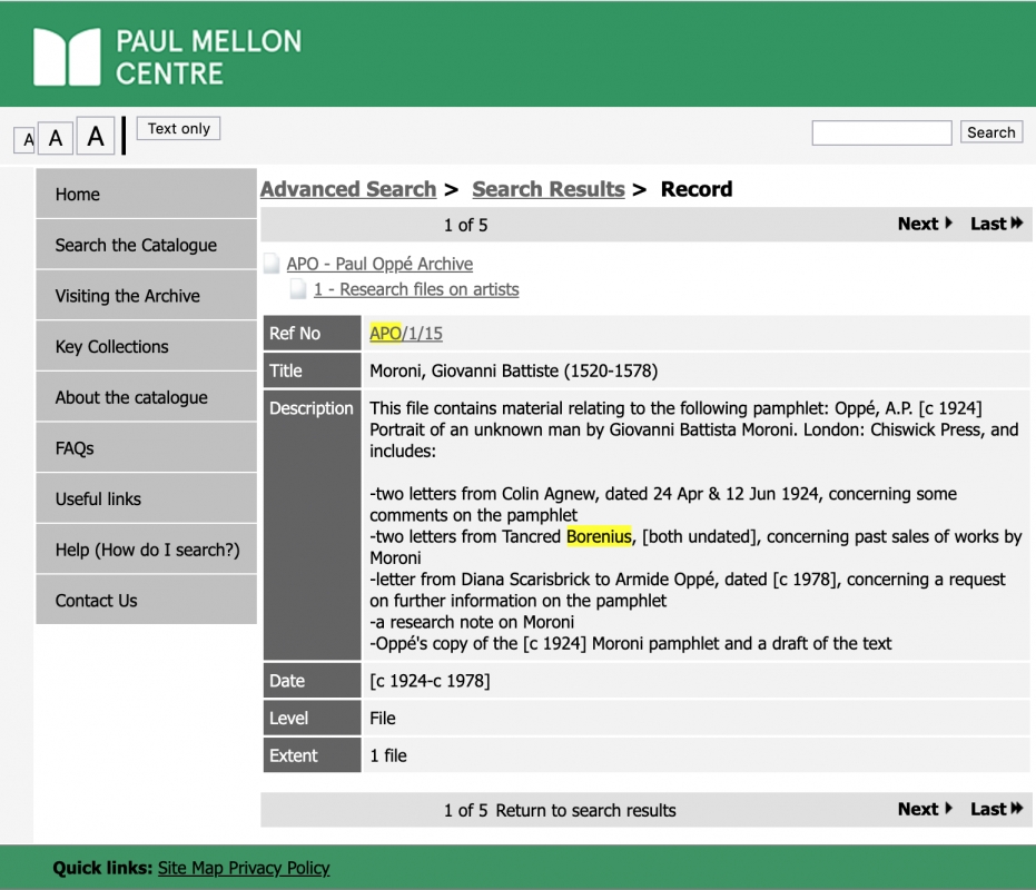 Screenshot of Archive Search Engine called Calm