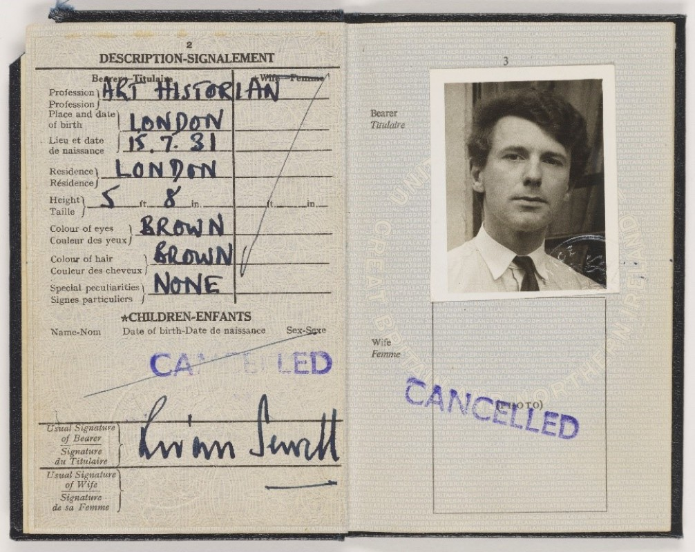 A passport of a man dated 1963 open to show the photograph page.