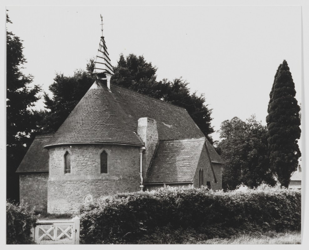 Black and white photograph of church