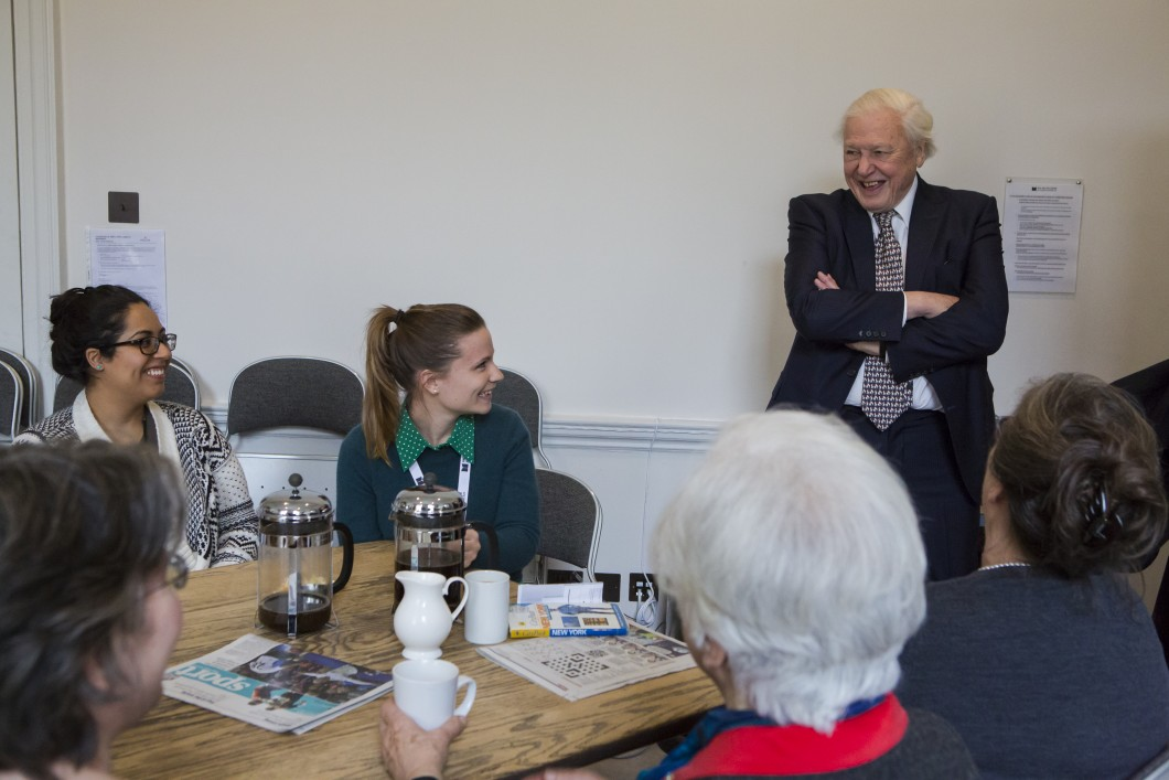 Sir David Attenborough with members of the Paul Mellon Centre staff