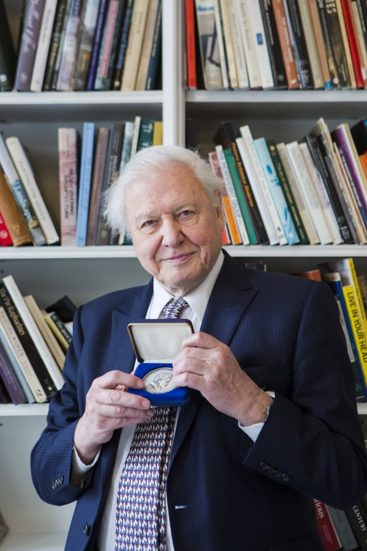Sir David Attenborough and the Verril Medal in the Paul Mellon Centre Library