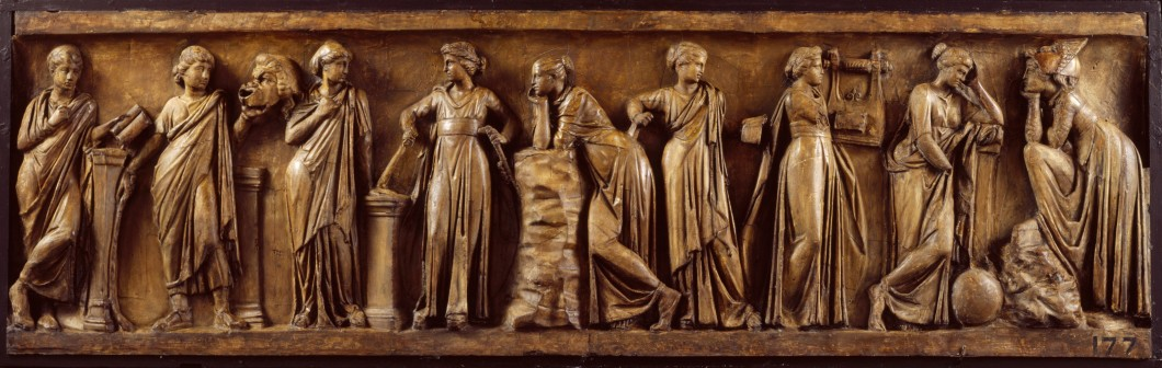 A sculpture panel showing nine classically dressed women