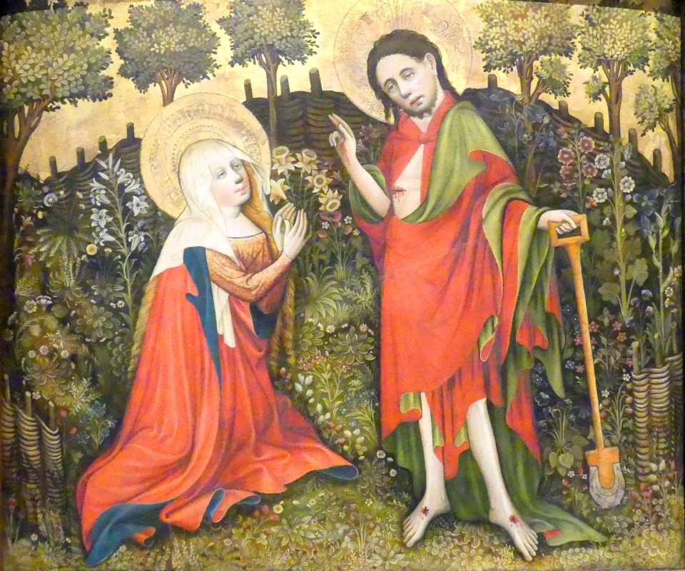 Painting depicting a woman praying to a man who is holding a gardening spade