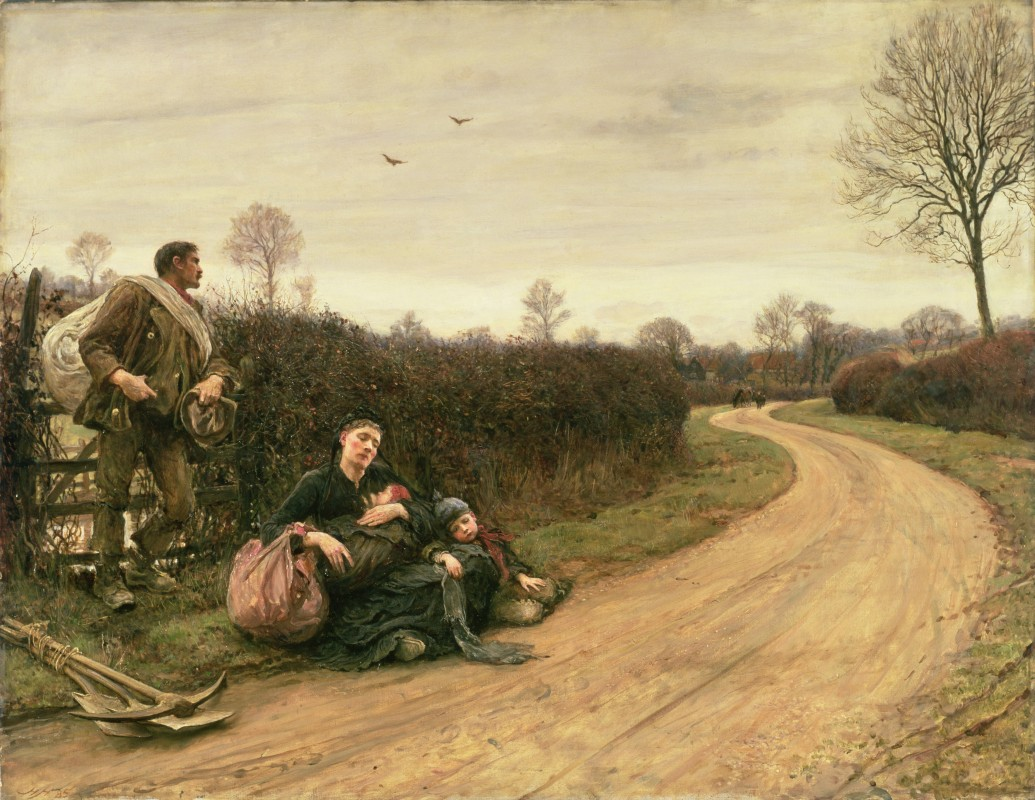 Painting of a man, woman, and two small children resting on the side of a country lane