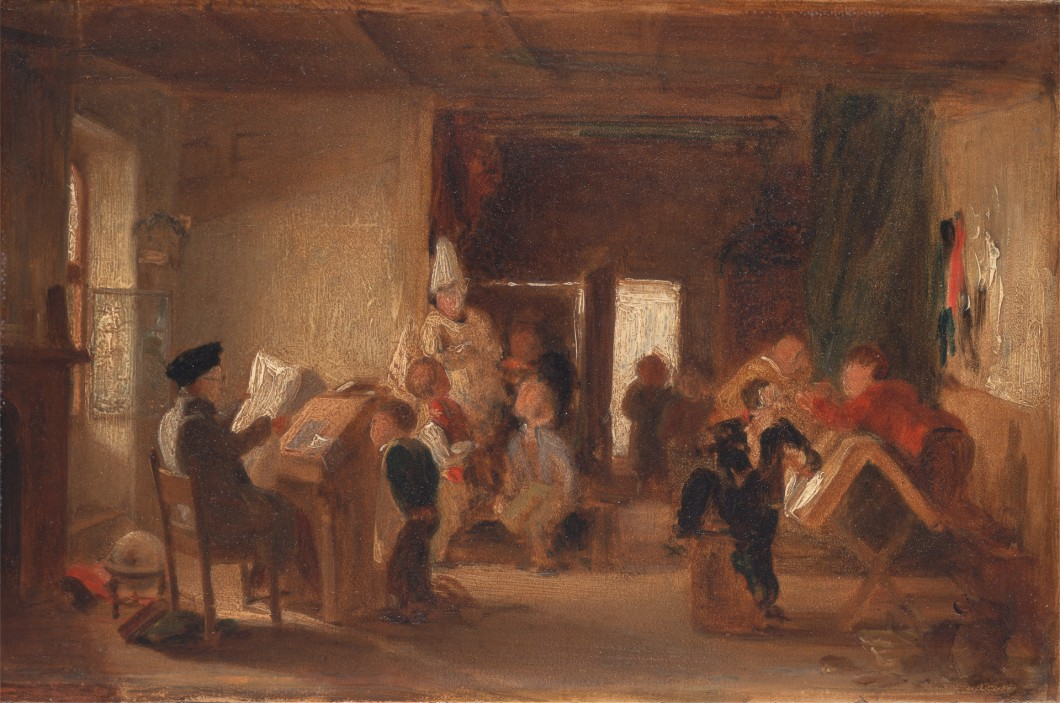 Attributed to Thomas Webster, 1800–1886, British, A Study of 'The Schoolroom', ca. 1820, Oil on board, Yale Center for British Art, Paul Mellon Collection