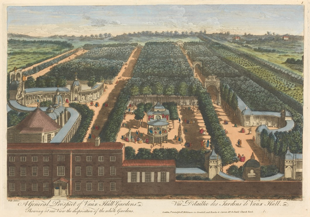 John S. Muller, ca. 1715–1792, German, active in Britain, A General Prospect of Vaux Hall Gardens, Shewing at one View the disposition of the whole Gardens, , Hand-colored engraving on wove paper, Yale Center for British Art, Paul Mellon Collection
