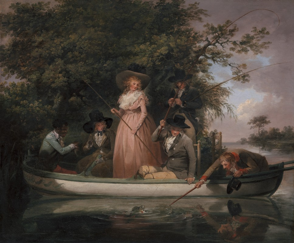 George Morland, 1763–1804, British, A Party Angling, 1789, Oil on canvas, Yale Center for British Art, Paul Mellon Collection