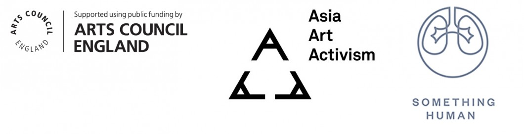 Arts Council England logo, Asia Art Activism logo, Something Human logo