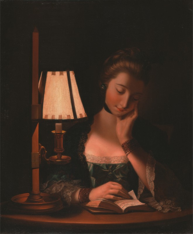 Henry Robert Morland, 1730–1797, British, Woman Reading by a Paper-Bell Shade, 1766, Oil on canvas, Yale Center for British Art, Paul Mellon Collection
