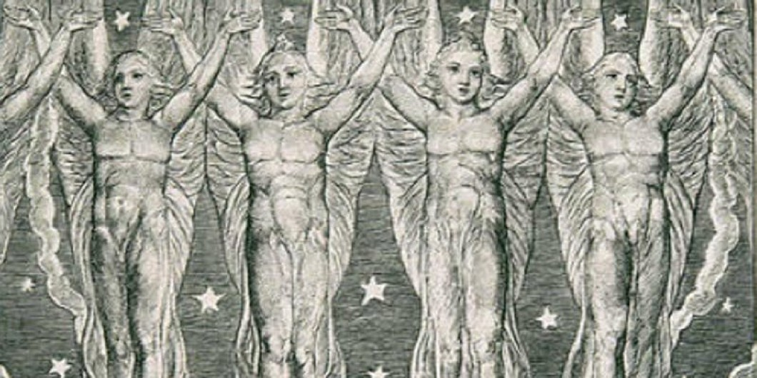 Black and white drawing of four bare chested male angels.
