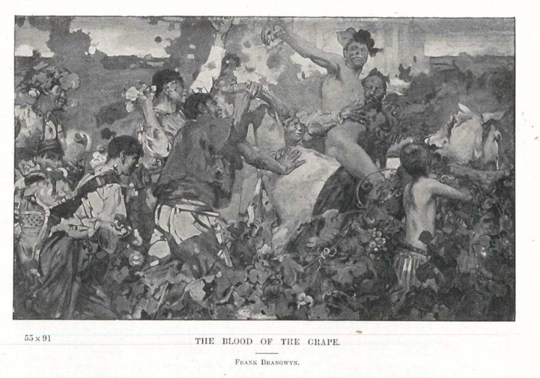 Black and white photograph of painting of fighting figures in landscape
