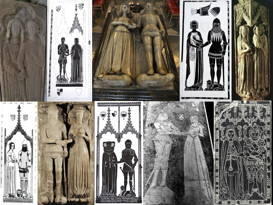 Composite image of medieval figures holding hands