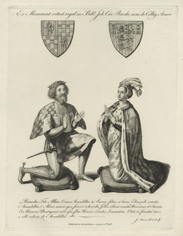 Etching depicting two kneeling figures with family coat of arms above