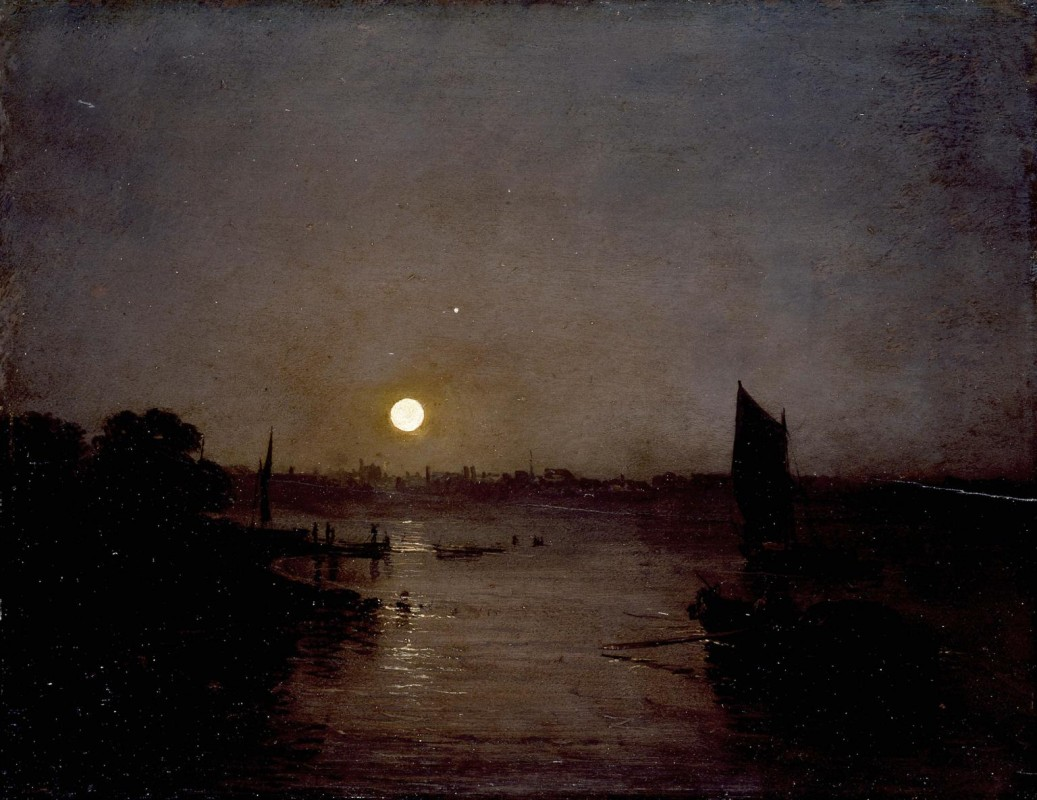 Dark view of Thames and boats with bright moon