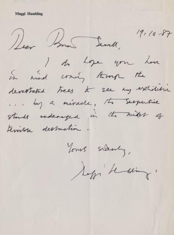 Letter from Maggi Hambling to Brian Sewell dated 19 October 1987