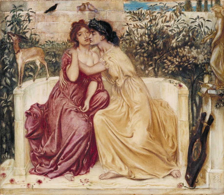 Two women in period dress canoodling on a bench