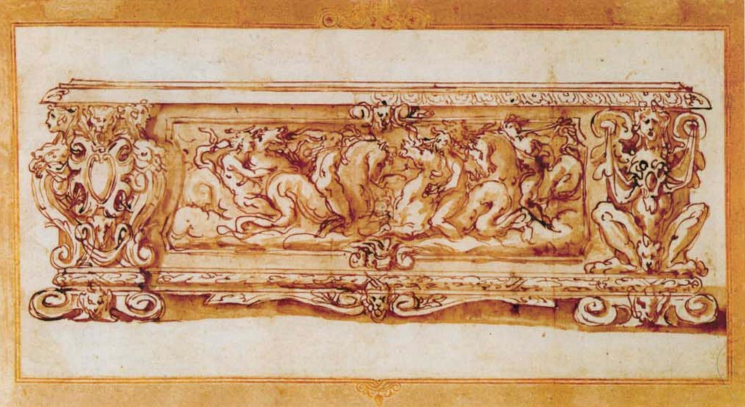 Monochromatic umber drawing of ornate marriage chest