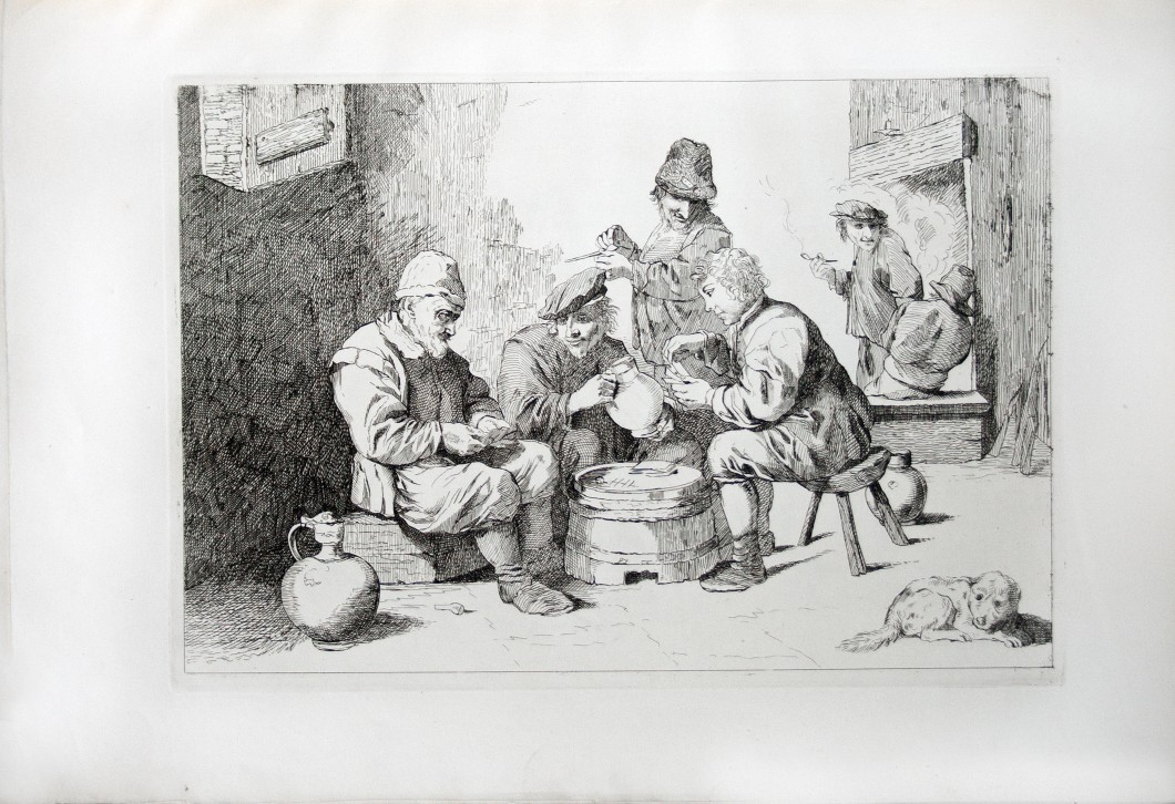 William Cantrill after David Teniers the Younger, Boors Playing at Cards, in Cantrill, Etchings from