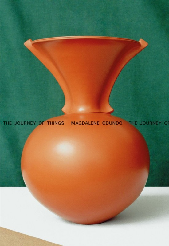 Orange vase with green background