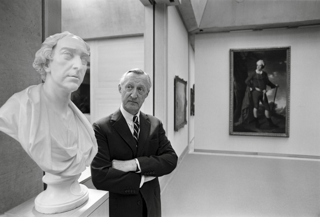 <i>with the portrait bust of Thomas, 1st Baron Dartrey, by Joseph Wilton, installed at the Yale Center for British Art, New Haven</i>.