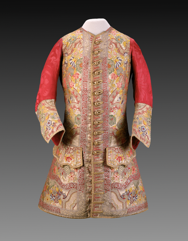 Waistcoat, fabric woven in London and tailored in Boston, ca. 1720, brocaded silk, silk damask, gold metallic braid, taffeta, linen. Museum of Fine Arts, Boston (gift of William Storer Eaton, 41.887).