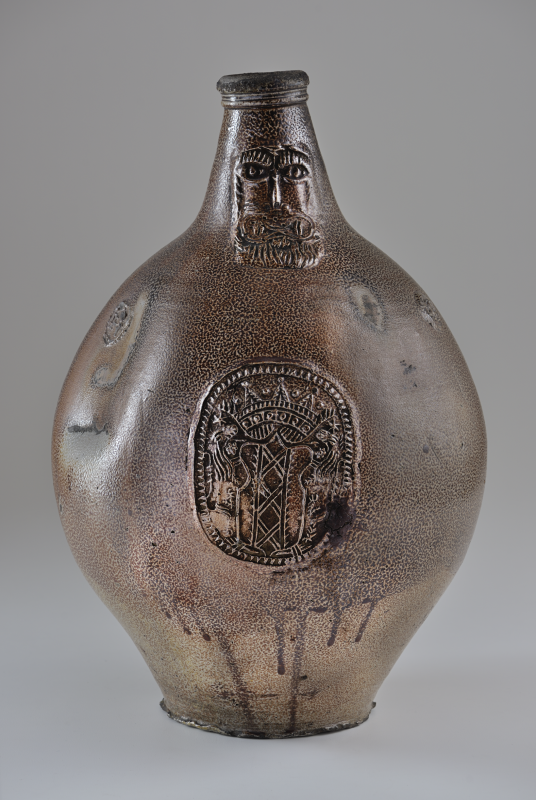 Bottle, Frechen, ca. 1660, wheelthrown stoneware with sprig molded decoration and salt glaze. Isabella Stewart Gardner Museum, Boston.