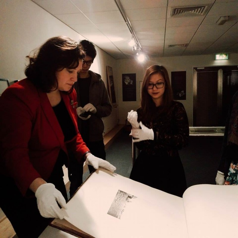 Examining photographic prints at the National Media Museum, Spring 2015