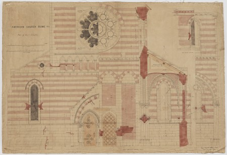 OS drawing of St Paul American Church, Rome, Italy, No. 12 - Part of West Elevation,