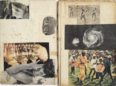 An open page of a scrapbook showing a collage of photographs